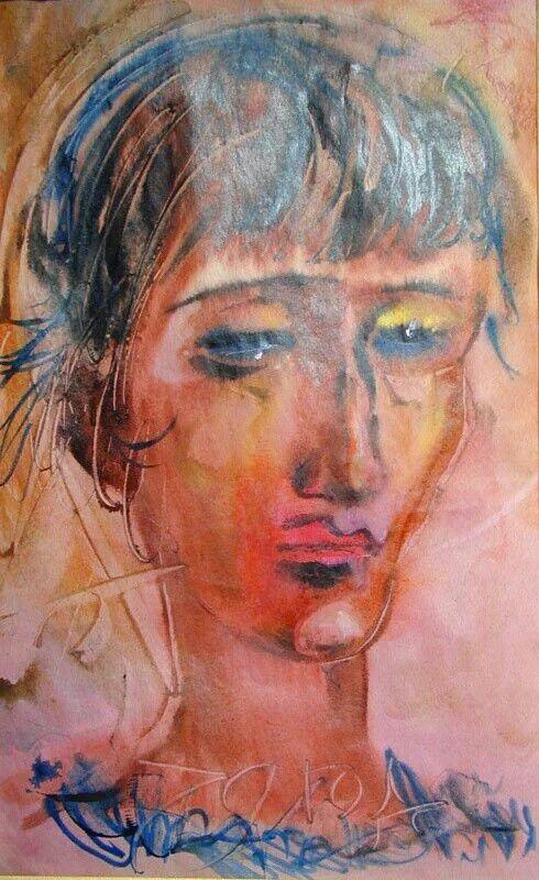 Из собрания музея Анны Ахматовой: А.Т.Зверев. Портрет Анны Ахматовой. Бумага, акварель, гуашь, масло. 1979.