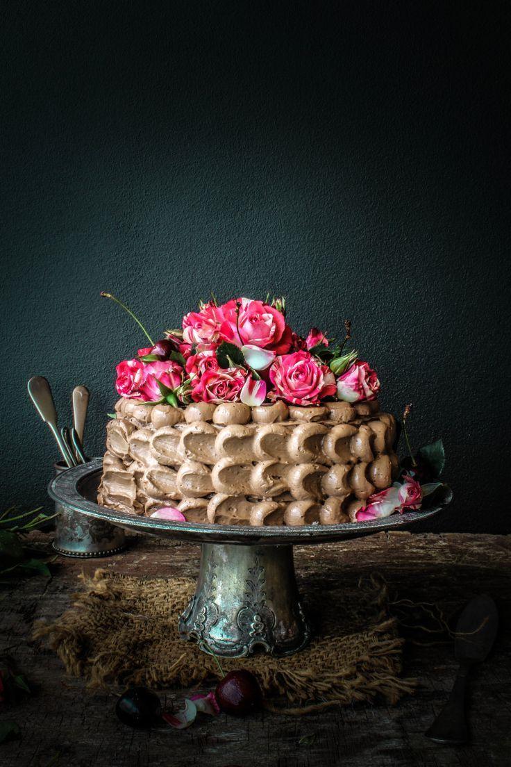 Dark chocolate cake with milk chocolate and cherry buttercream