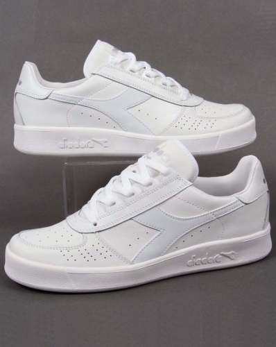 Diadora B. Elite III Trainers in White/White - Borg Elite tennis classic