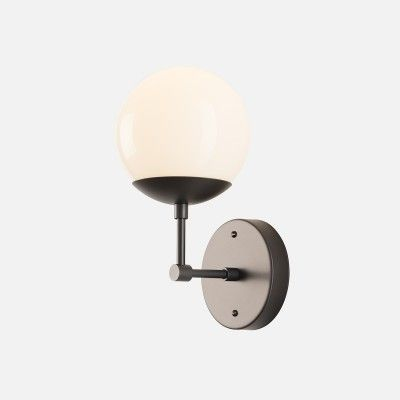 Ellerbe Sconce | Black with opal shade - nice transitional style. Schoolhouse Electric