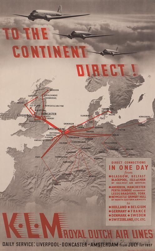 KLM European Route Map Poster late 1930s
