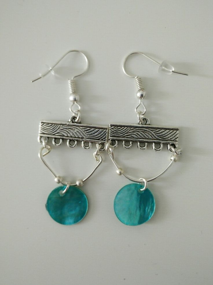 Boucles d'oreille perle bleue #diy #french #earring