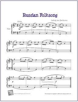 Russian Folksong (Beethoven)   Free Sheet Music for Harp - http://www.makingmusicfun.net/htm/f_printit_free_printable_sheet_music/russian-folksong-harp.htm