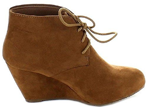 AimTrend Womens Almond Toe Lace up Ankle Booties-Camal-8…