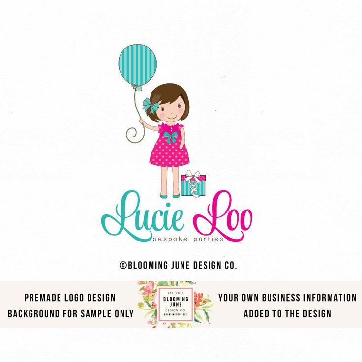 party logo design little girl with balloon logo party stylist