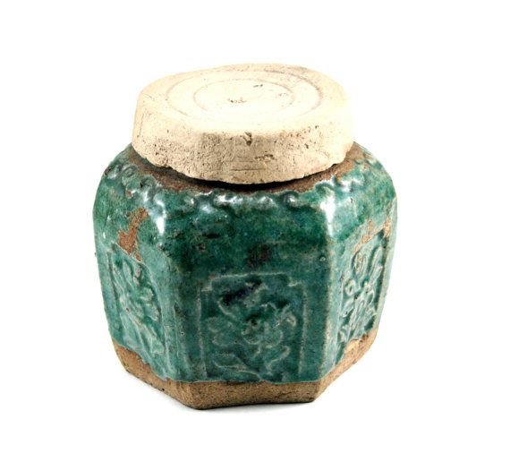 Antique Chinese Green Glazed Stoneware Ginger / Spice Jar / Antique Pottery