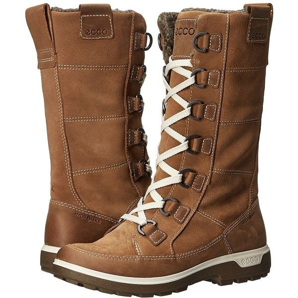 ECCO Sport Gora Tall Boot (Camel/Camel) Women's Hiking Boots ($220) ❤ liked on Polyvore featuring shoes, boots, thigh-high boots, hiking boots, lacing hiking boots, water resistant boots and camel boots