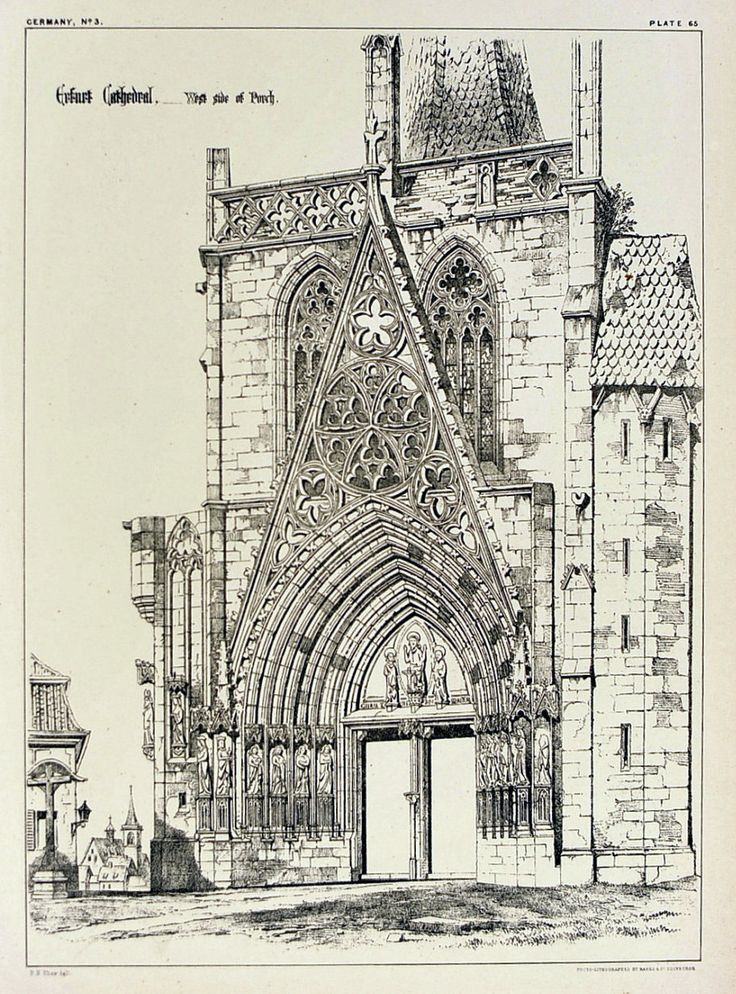 1872 large antique plate of gothic architectural details for Online architecture drawing