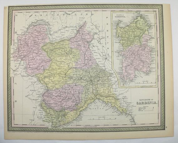 Antique Sardinia Map of Sardinia Kingdom Island Italy Map 1855 Vintage Map Mitchell Northern Italy Special Gift for Wedding Genealogy Gift by OldMapsandPrints on Etsy