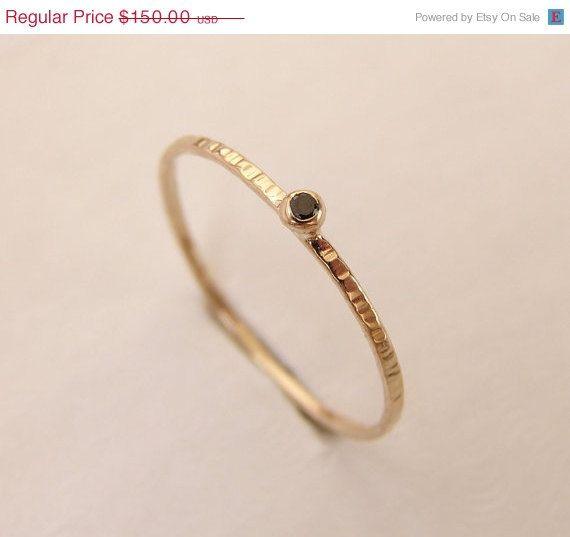 Holiday Sale Black Diamond Ring - Diamond Engagement Ring - 14kt Solid Gold - Thin Diamond ring