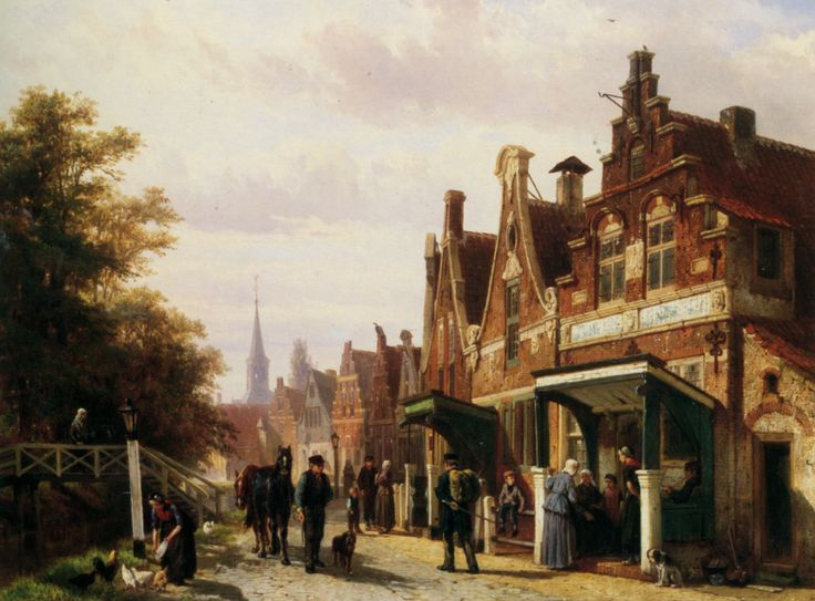 Cornelis Springer - Street scene with figures, 1871