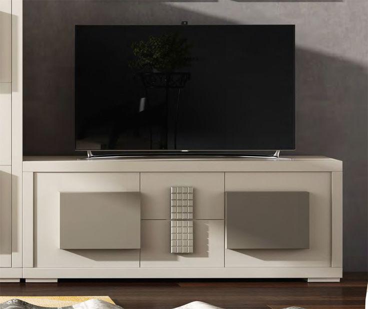 mueble de televisin de diseo con dos puertas y dos cajones y realizado en madera de
