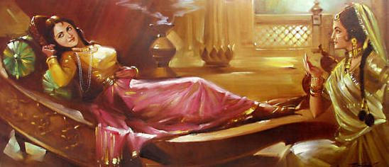 Indian art painting, woman lying down