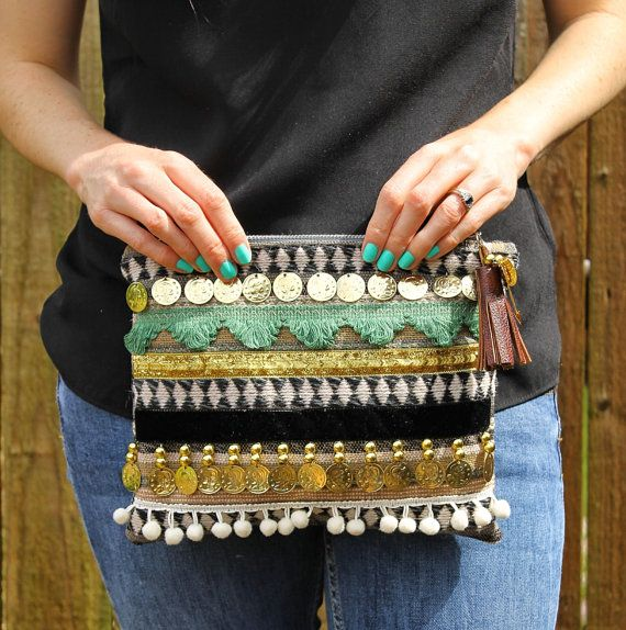 Ethnic Embellished Coin Clutch Bag by RENIQLO on Etsy, £25.00
