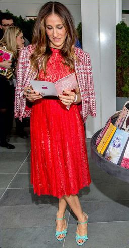 Sarah Jessica Parker In Michael Kors dress & Oscar de la Renta jacket - Launch of Hallmark Collection Cards. Re-tweet and favorite it here: https://twitter.com/MyFashBlog/status/427351661867040768/photo/1