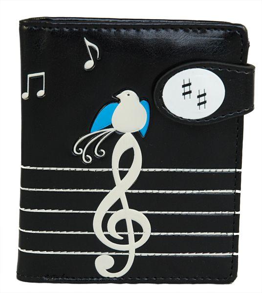 Accessory Insanity - Music Birds - Small Black Wallet, CAD $25.00 (http://www.accessoryinsanity.com/music-birds-small-black-wallet/)
