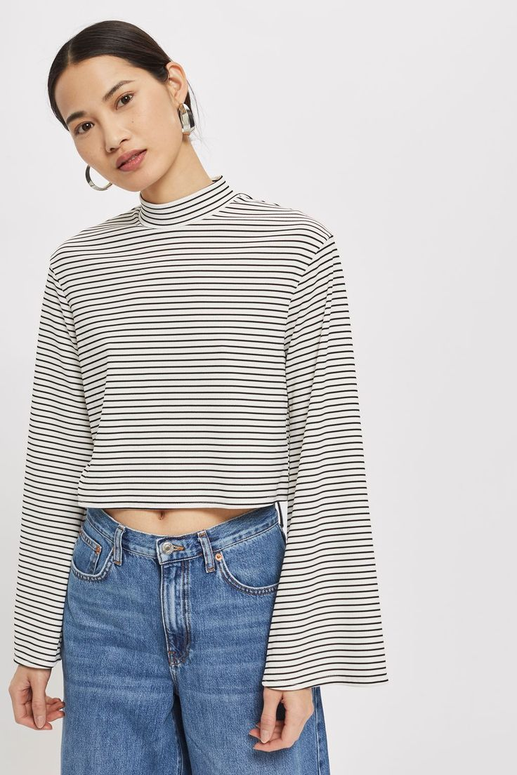 **Striped Funnel Neck Top by Nobody's Child | Topshop