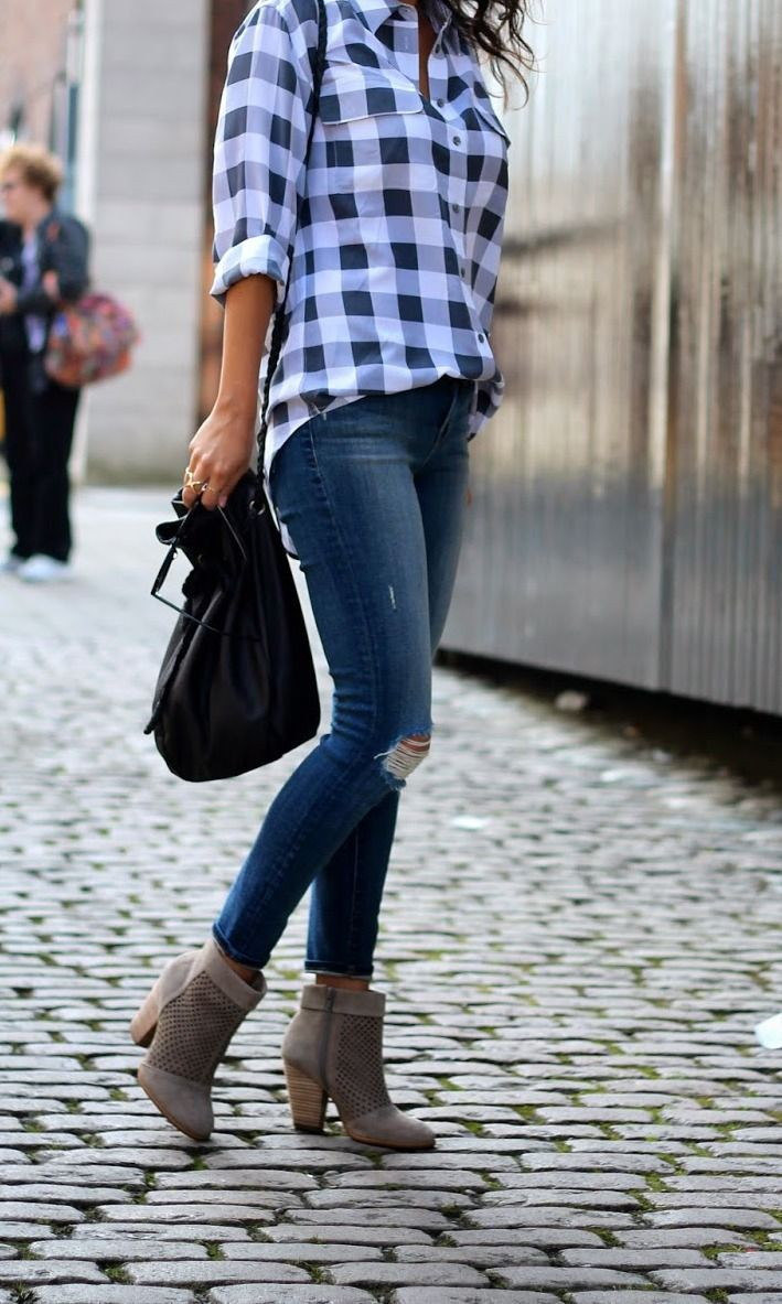 gingham, distressed jeans, and booties