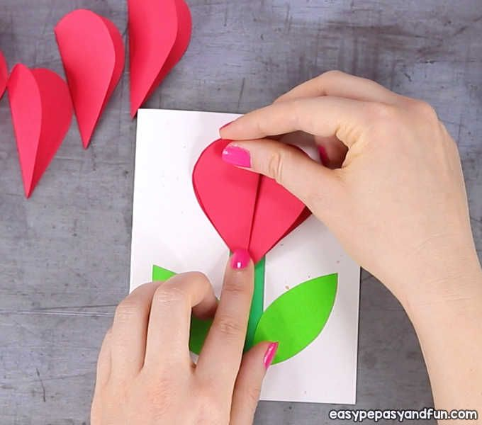 3d Heart Flower Card With Flower Template Valentines And Mother S Day Craft Idea Valentine Crafts Flower Cards Mothers Day Crafts