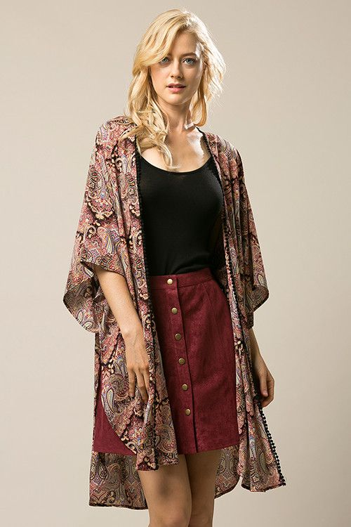 LOOSE FIT EASY TO WEAR PAISLEY PRINT KIMONO CARDIGAN WITH SIDE SLITS