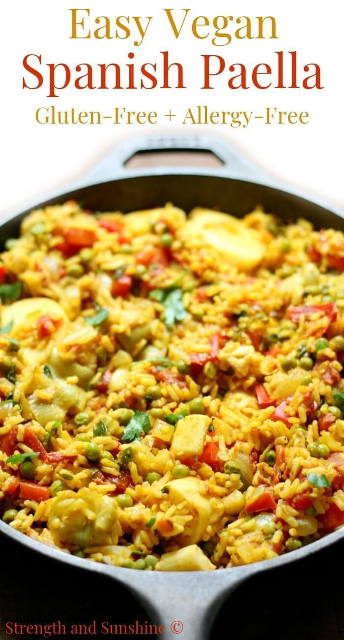 Easy Spanish Vegan Paella Gluten Free Allergy Free Recipe Meatless Meals Spanish Vegan Workout Food