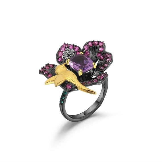 Amethyst ring Gemstone ring Sterling silver ring Dainty ring Valentine day gift ring for her Handmade ring Rings Girlfriend ring