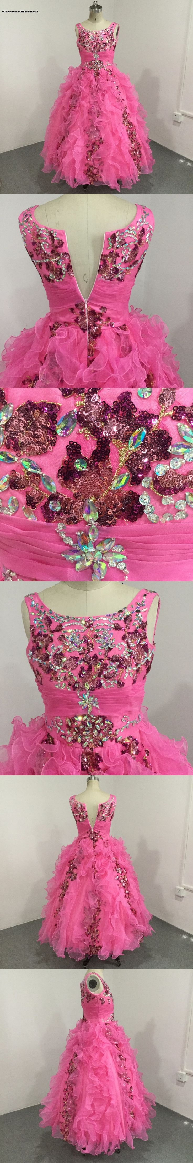 Sparking pink organza beaded ruffled sequined junior pageant dresses straps tank embellished bodice girls long pageant dress