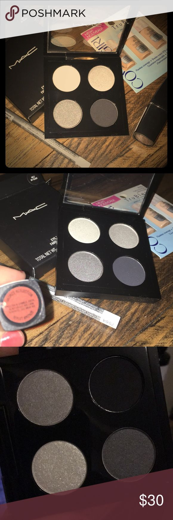 """Mac Melt My Heart Quad Bundle Mac quad discontinued in stores- Black, chrome, gunmetal, and silver eye shadows. Includes white eyeliner, foundation sampler, and lipstick all brand new Please note: one of the bundles has lipstick in photograph """"bronze reflection"""" and the other will have a new lipstick but different shade- it's unlabeled, but is gold-ish MAC Cosmetics Makeup Eyeshadow"""