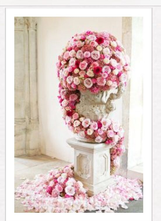 Pinks and white wedding flowers great for entrances