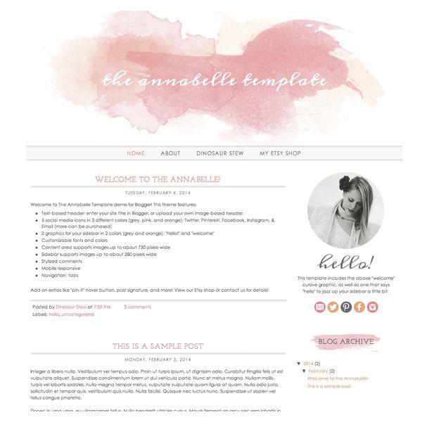 144 best Cute Blogger Templates  images on Pinterest Design