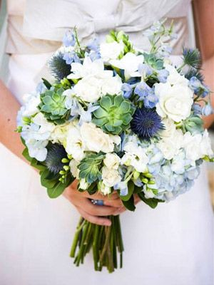 Blue Bouquet Accents    Blue flowers are harder to come by than other colors (like pink and white), so use them as an accent to an all-white bouquet for an unexpected twist. Our favorite blue flowers: thistle for rustic and hydrangeas for romantic.
