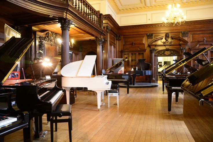 The historic piano hall, filled with a beautiful selection of Yamaha and Bösendorfer acoustic pianos