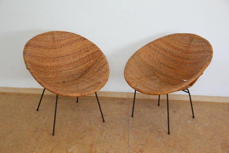 2x rattan sessel mit stahlgestell 50er jahre design ebay. Black Bedroom Furniture Sets. Home Design Ideas