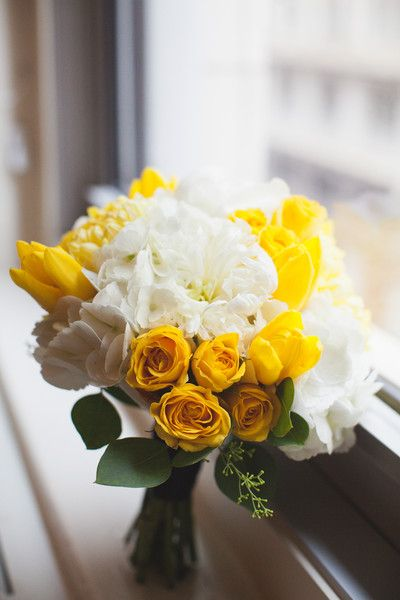 White Yellow Bouquet Peony Rose Tulip Wedding Flowers Photos  Pictures - WeddingWire.com