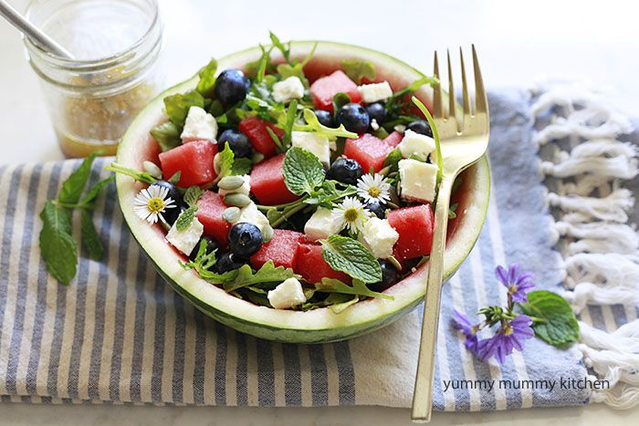 watermelon feta salad with arugula, blueberries, and mint