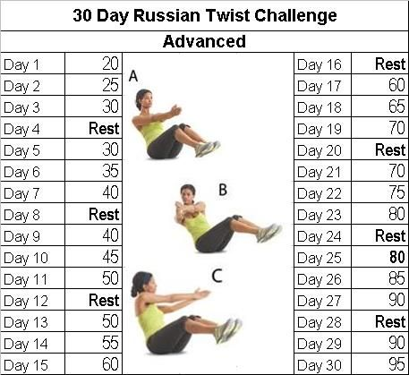 I really need to start posting these at the beginning of the month but the 30 days you can start at any point. This month's main focus is going to be the Russian Twist (if you are unsure how to do ...