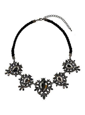 Tear rhinestone grey necklace