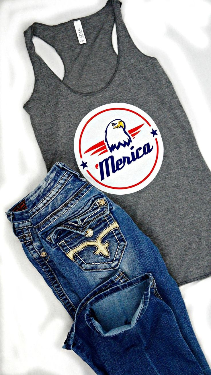 Merica casual country girl Fourth of July tank top for women