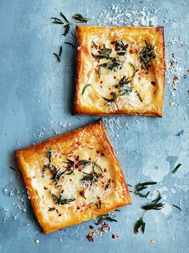 three-cheese, potato and rosemary tarts