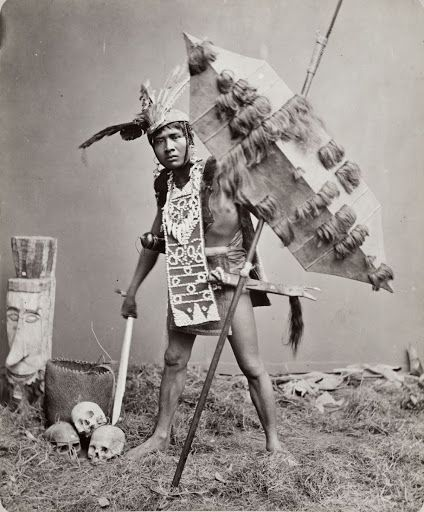 Studio portrait of a 'Dayak dressed as a warrior' - Google Arts & Culture