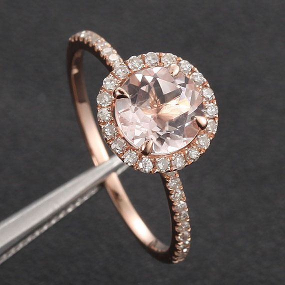 7mm Morganite .27ct Pave Diamond Solid 14K Rose Gold by 4YOURSELF, $360.00