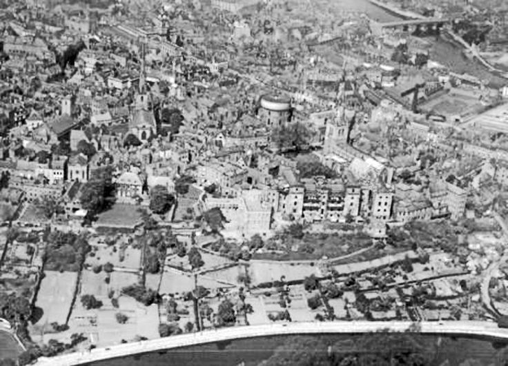 Areial view of Shrewsbury from 1927. You can see the water tower behind St Mary's Alms Houses. Shrewsbury, Shropshire
