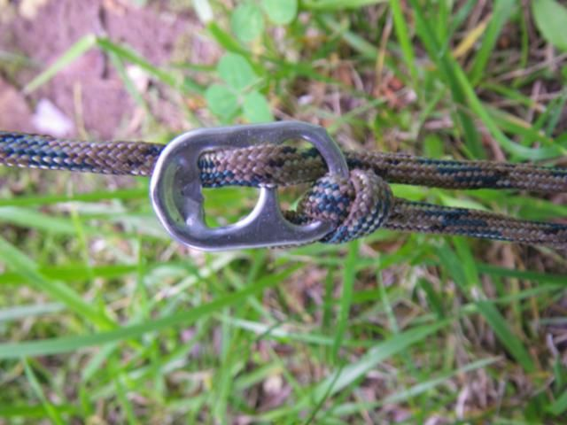 18 Inventive Camping Hacks Seen on Pinterest: Make a guyline tensioner from a pull tab