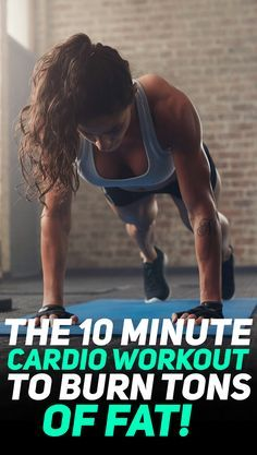 Check out this killer 10 minute home cardio workout that will help you burn tons of fat and improve your weight loss! #fitness #gym #exercise #cardio #exercises #hiit #fit #workout