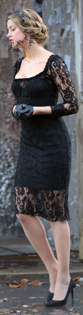 lacy little black dress......maybe not the gloves or hat.....but love this dress !