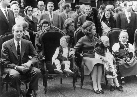 Juan Carlos and his wife Sofia and their three children at the Pilar Fiestas in 1970, five years before he was crowned king