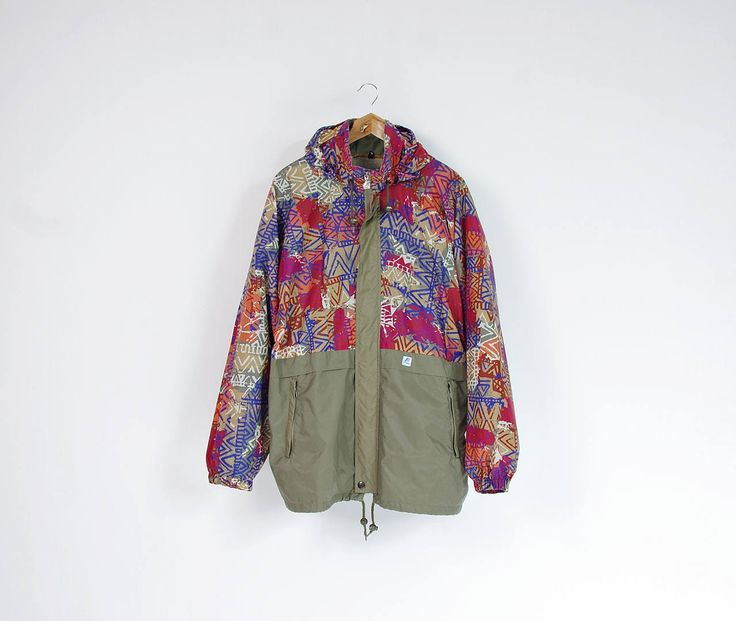90s KWay khaki colorful rad packable windbreaker with hidden hood / Size L-XL by Only1Copy on Etsy