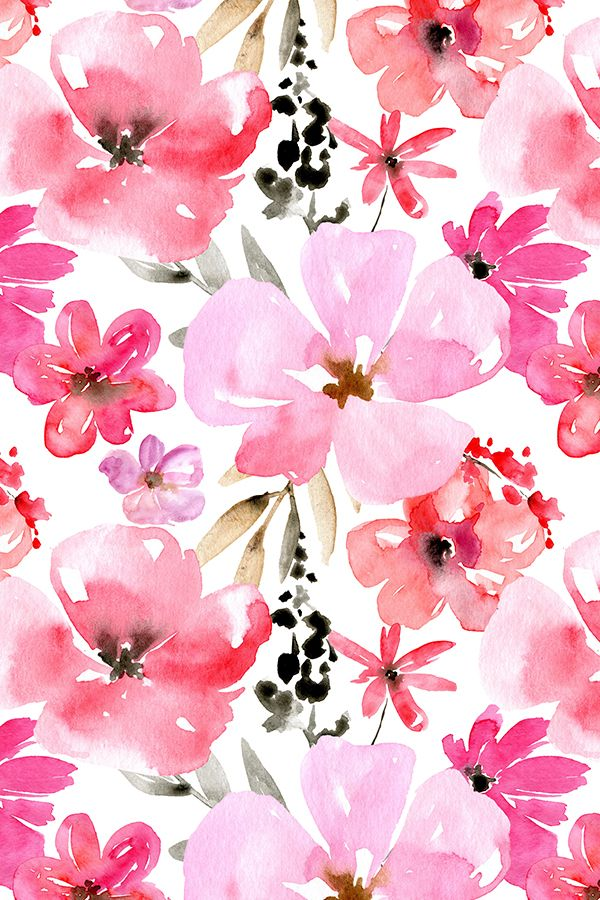 Red and Pink Watercolor Flowers by peachbloom - Hand painted pink and red watercolor flowers with green leaves on fabric, wallpaper, and gift wrap. Beautiful watercolor floral design by indie fabric designer peachbloom.