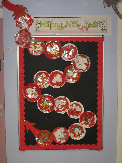 Chinese New Year classroom display photo - each child to do one plate each for dragon