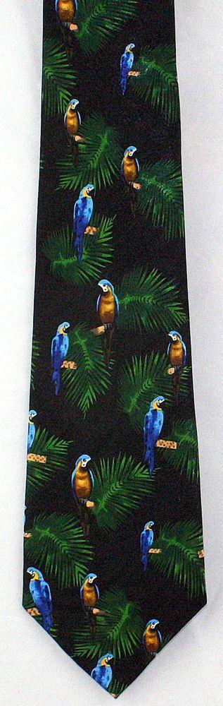 New Macaw Medley Mens Necktie Tropical Bird Blue Parrot Palm Animal Neck Tie #Fratello #NeckTie